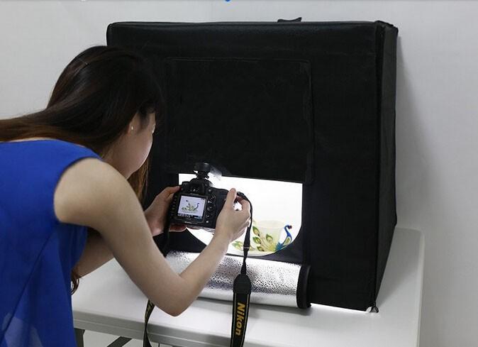 มินิสตูดิโอ สำหรับถ่ายรูปสินค้า มีไฟ LED ในตัว